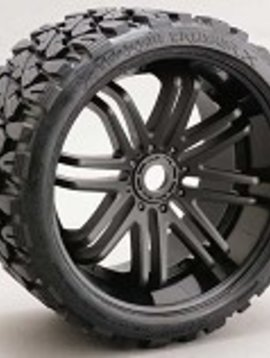 SRC C0002B Terrain Crusher Belted Tire Preglued 17mm on Blk Wheel Set