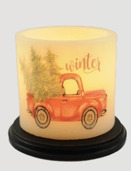 C R Designs Winter Truck Candle Sleeve - Oval