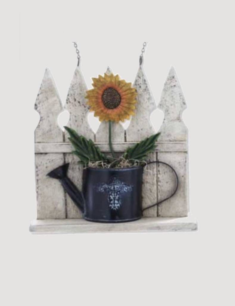 K & K Interiors White Wood Picket Fence & Watering Can with Sunflower Arrow Replacement