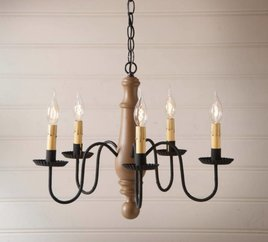 Irvin's Tinware Norfolk Wood Chandelier in Sturbridge Medium