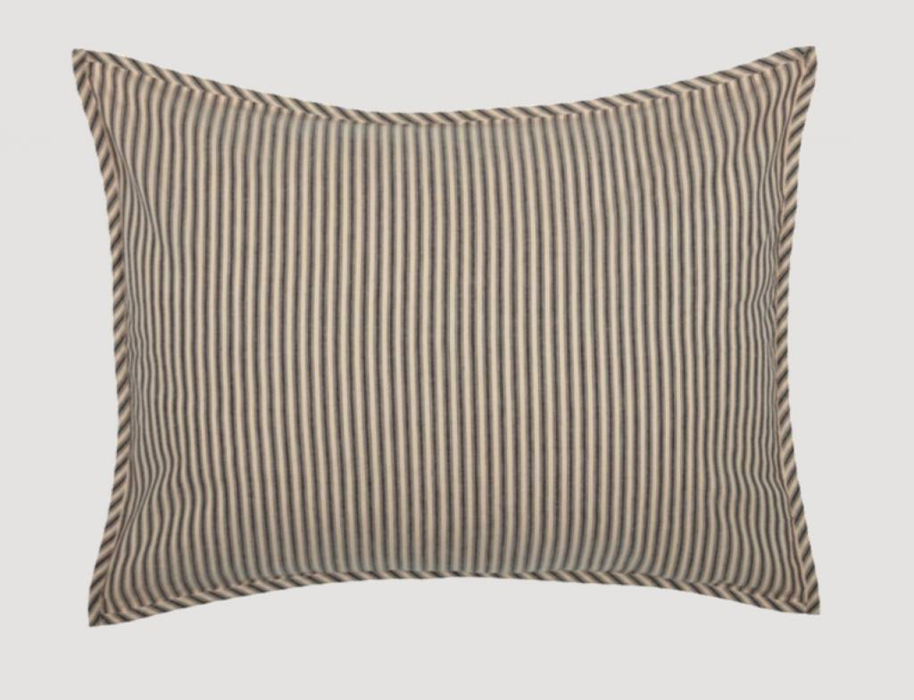 VHC Brands Sawyer Mill Charcoal Ticking Stripe Shams