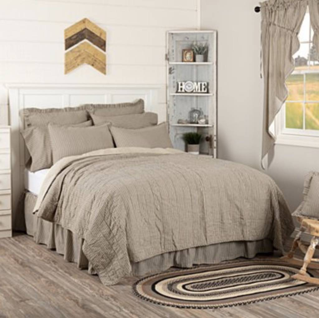 VHC Brands Sawyer Mill Charcoal Ticking Stripe Quilt Coverlet