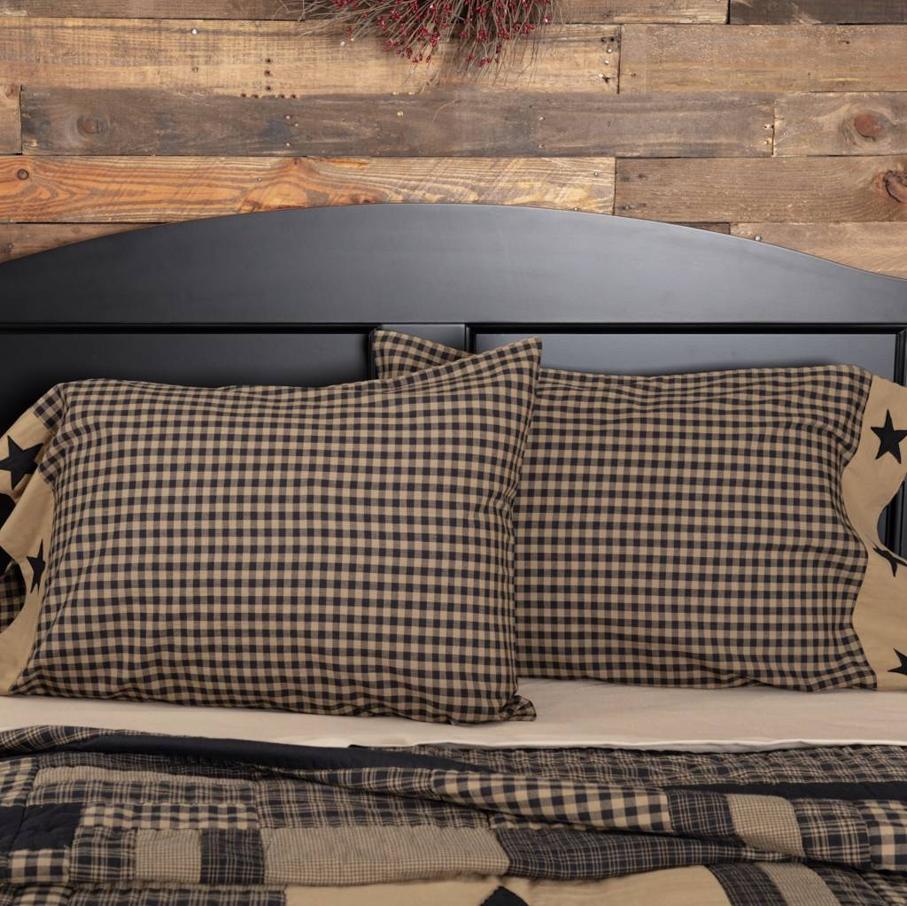 VHC Brands Black Check Star Pillow Cases