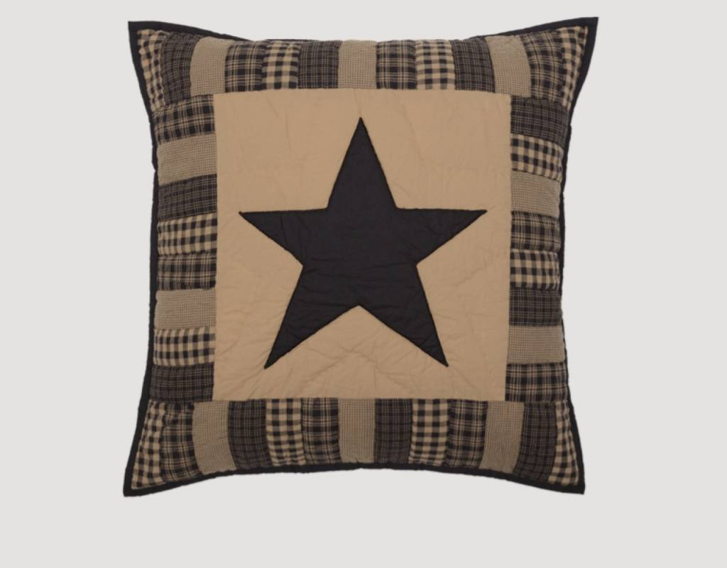 """VHC Brands Black Check Star Quilted Euro Sham  26"""" x 26"""""""