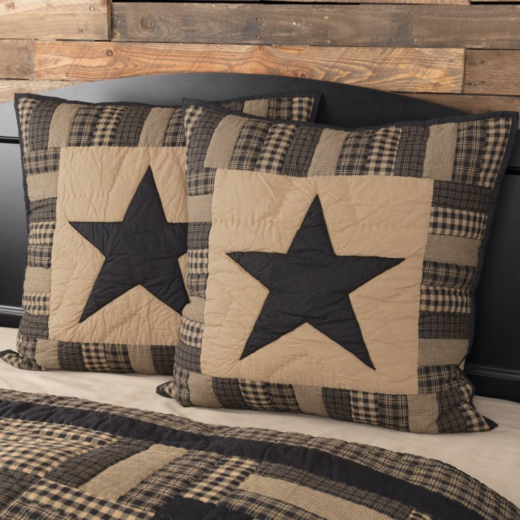 "VHC Brands Black Check Star Quilted Euro Sham  26"" x 26"""