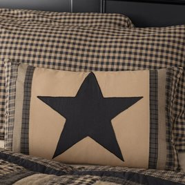VHC Brands Black Check Star Patch Pillow