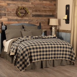 VHC Brands Black Check Coverlet