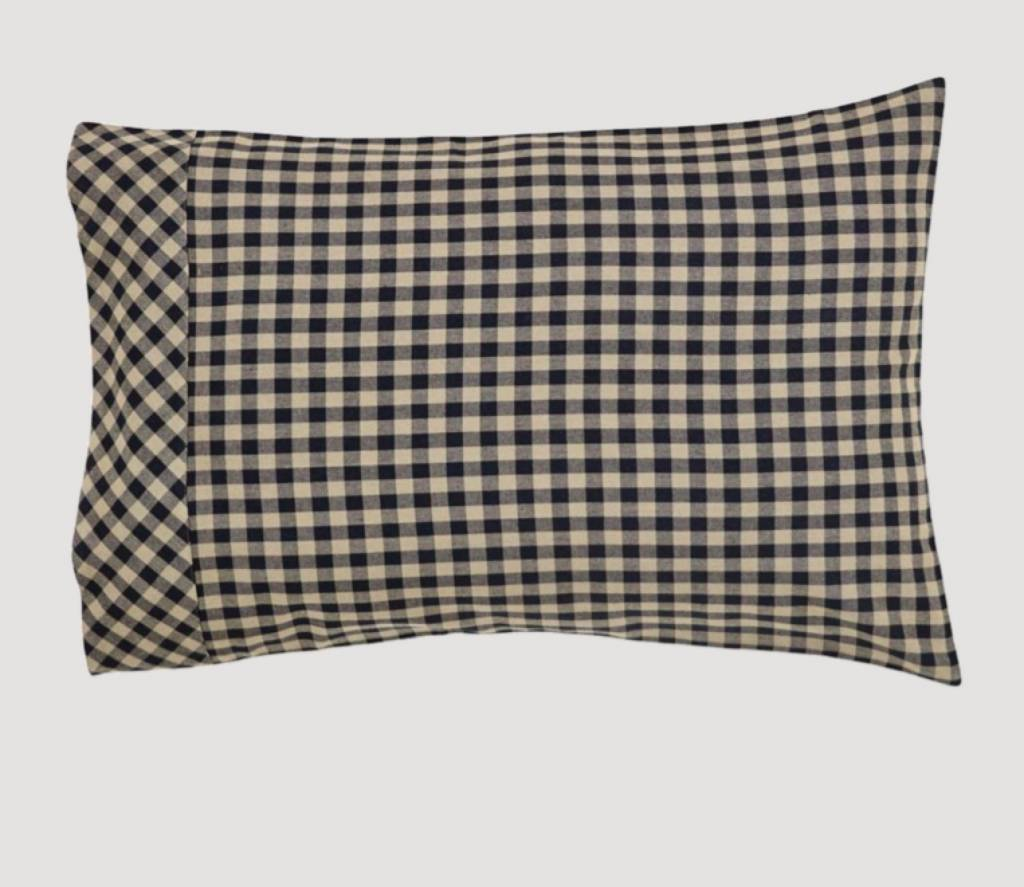 "VHC Brands Black Check Standard Pillow Case Set of 2 21""x30"""