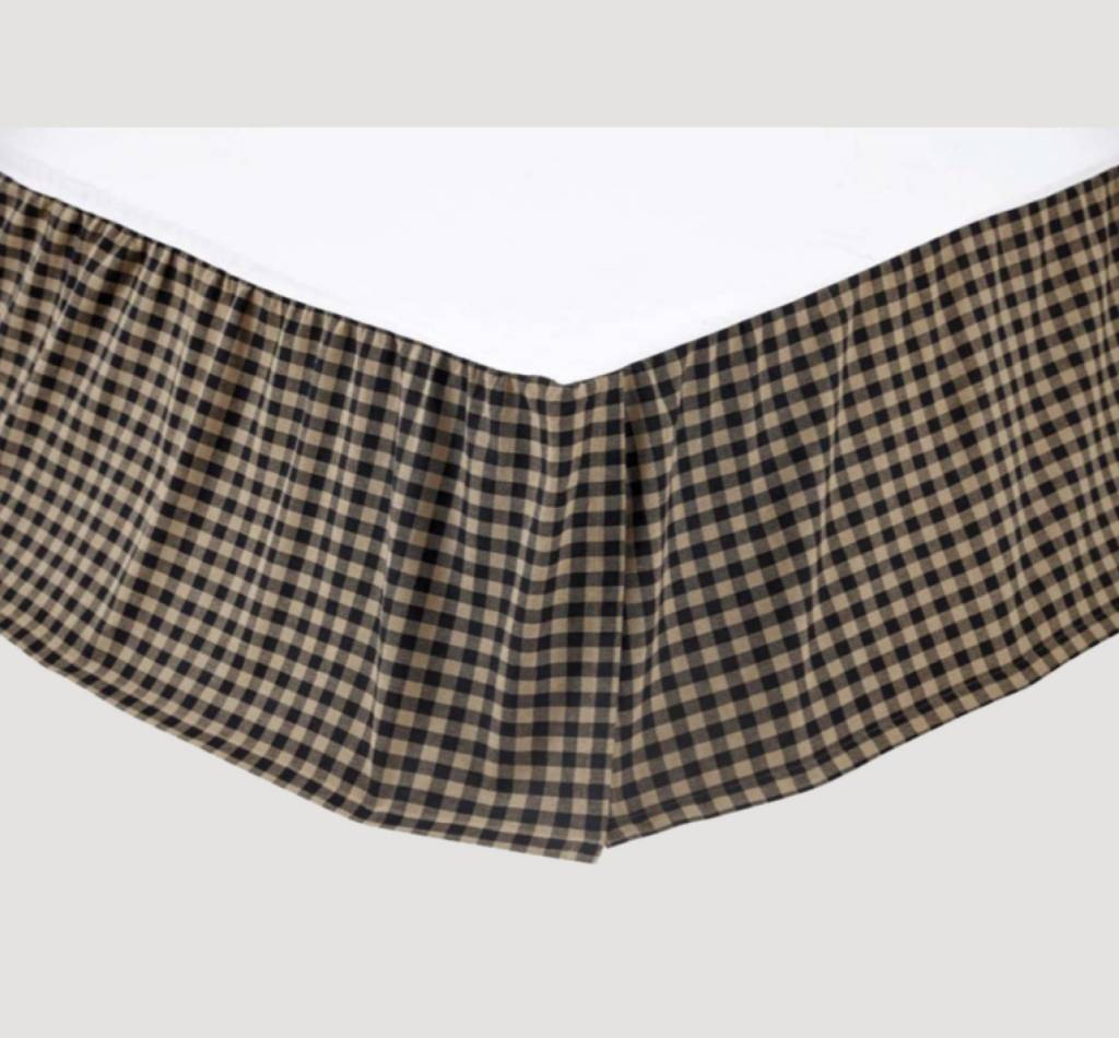 VHC Brands Black Check Bed Skirt