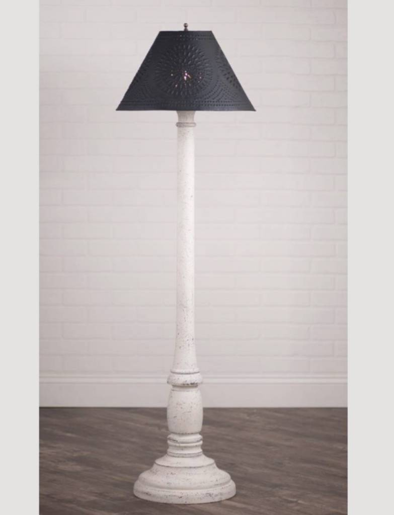 Irvin's Tinware Brinton House Floor Lamp with Textured Black Shade