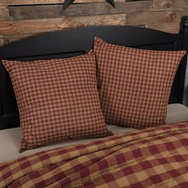 VHC Brands Burgundy Check Fabric Euro Sham