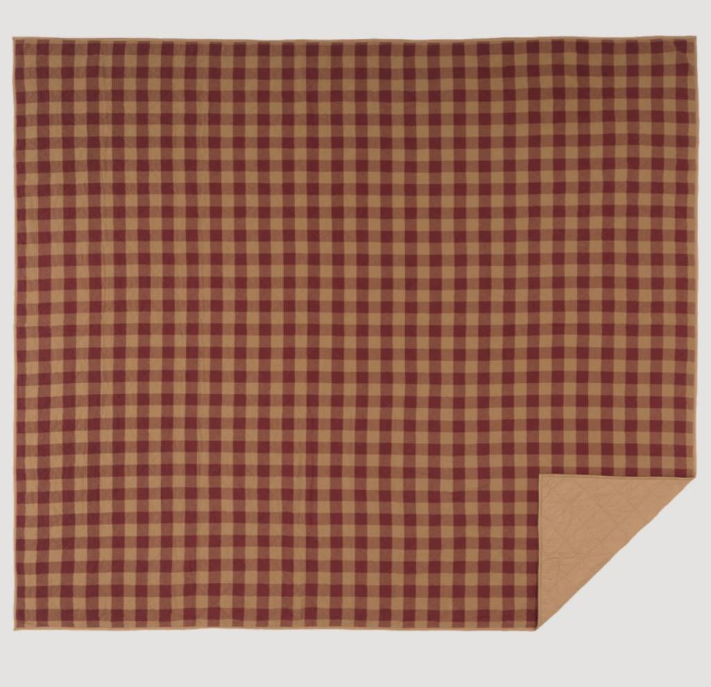VHC Brands Burgundy Check Quilt Coverlet