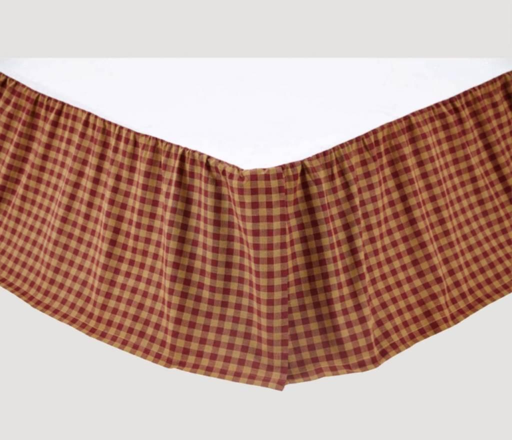VHC Brands Burgundy Check Bed Skirt