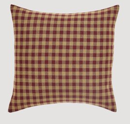 "VHC Brands Burgundy Check Fabric Pillow 16"" x 16"""
