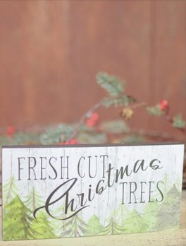 Nana's Farmhouse Fresh Cut Christmas Trees Block Sign