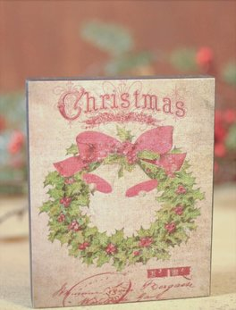 Nana's Farmhouse Christmas Wreath with Glitter Block Sign