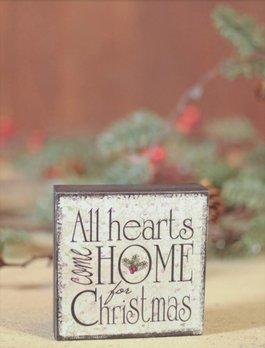 Nana's Farmhouse All Hearts Come Home For Christmas Block Sign