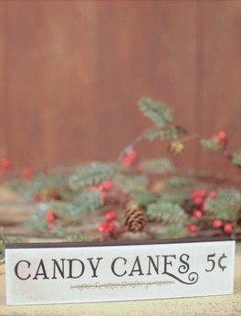 Nanas Farmhouse Candy Canes Block Sign