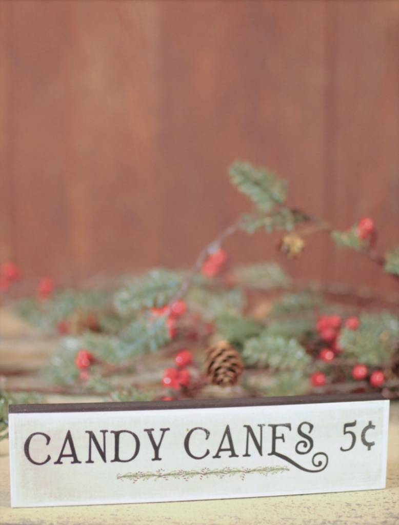Nanas Farmhouse Candy Canes Block Sign