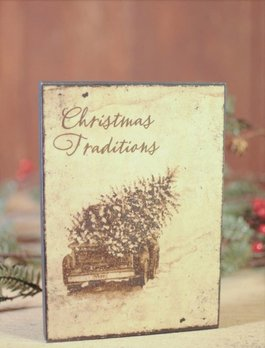Nanas Farmhouse Christmas Traditions Block Sign