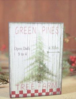 Nanas Farmhouse Green Pines Tree Farm Block Sign