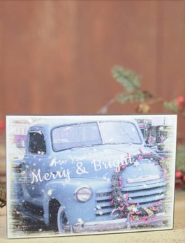 Merry And Bright Christmas Block Sign