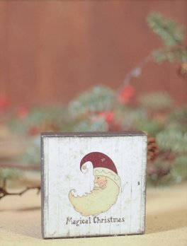 Magical Christmas with Glitter Block Sign