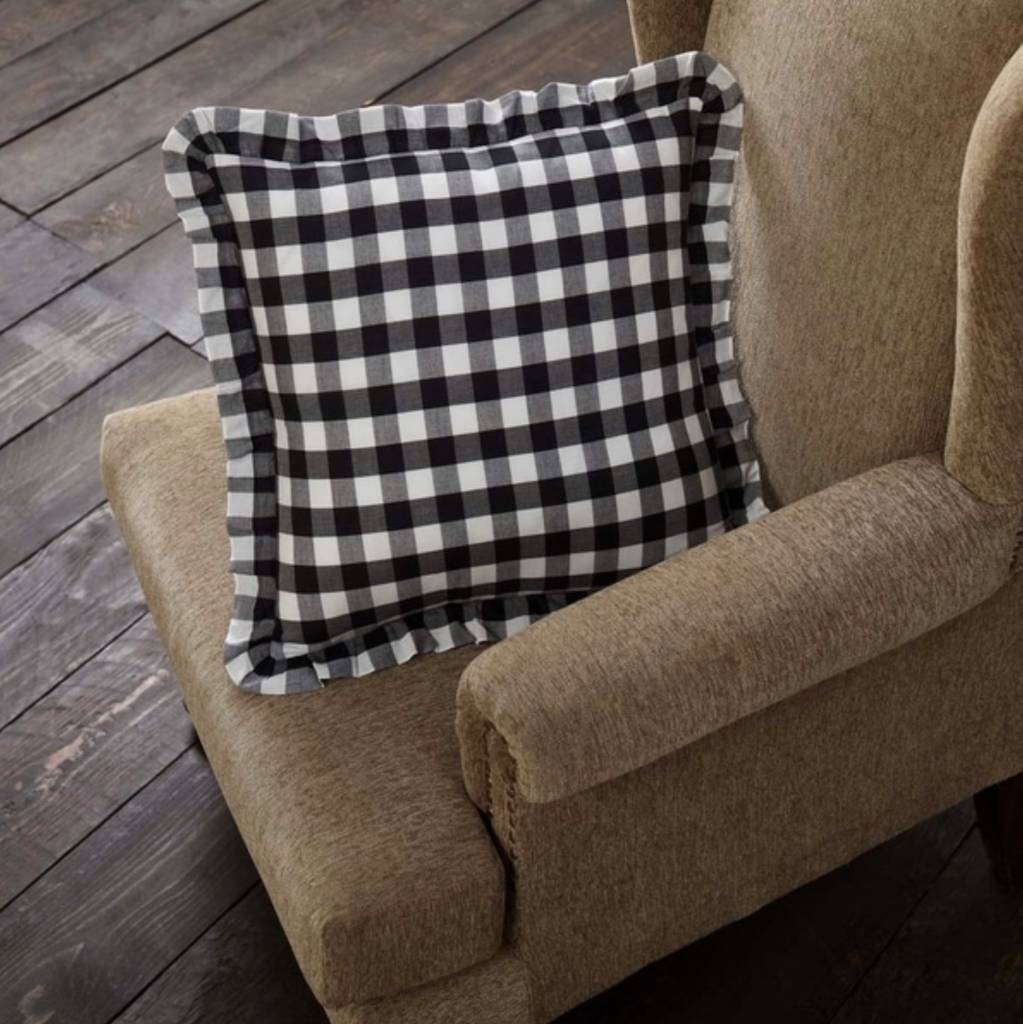 VHC Brands Annie Buffalo Black Check Fabric Pillow