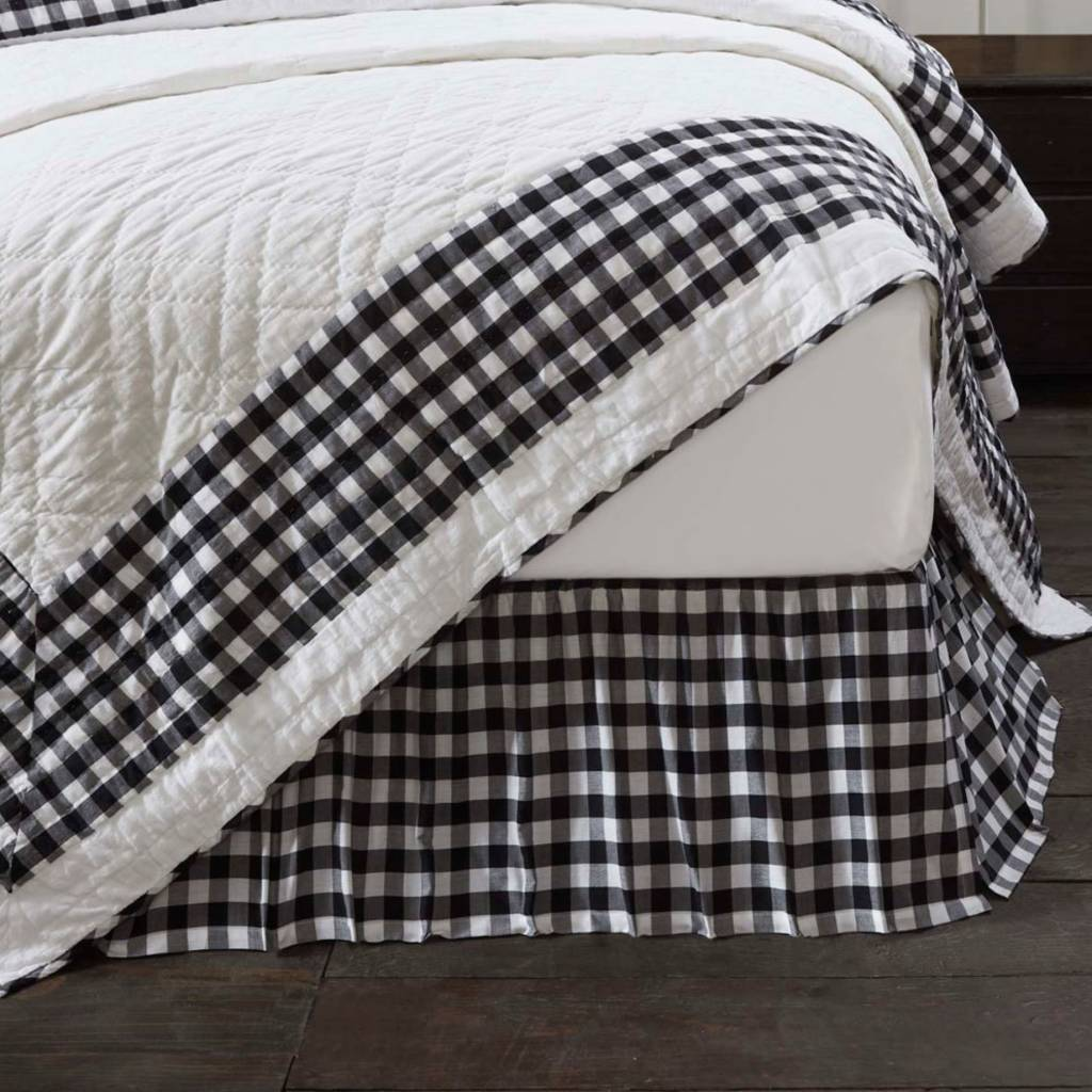 VHC Brands Annie Buffalo Black Check Bed Skirt