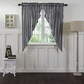 VHC Brands Annie Buffalo Black Check Lined Prairie Curtain