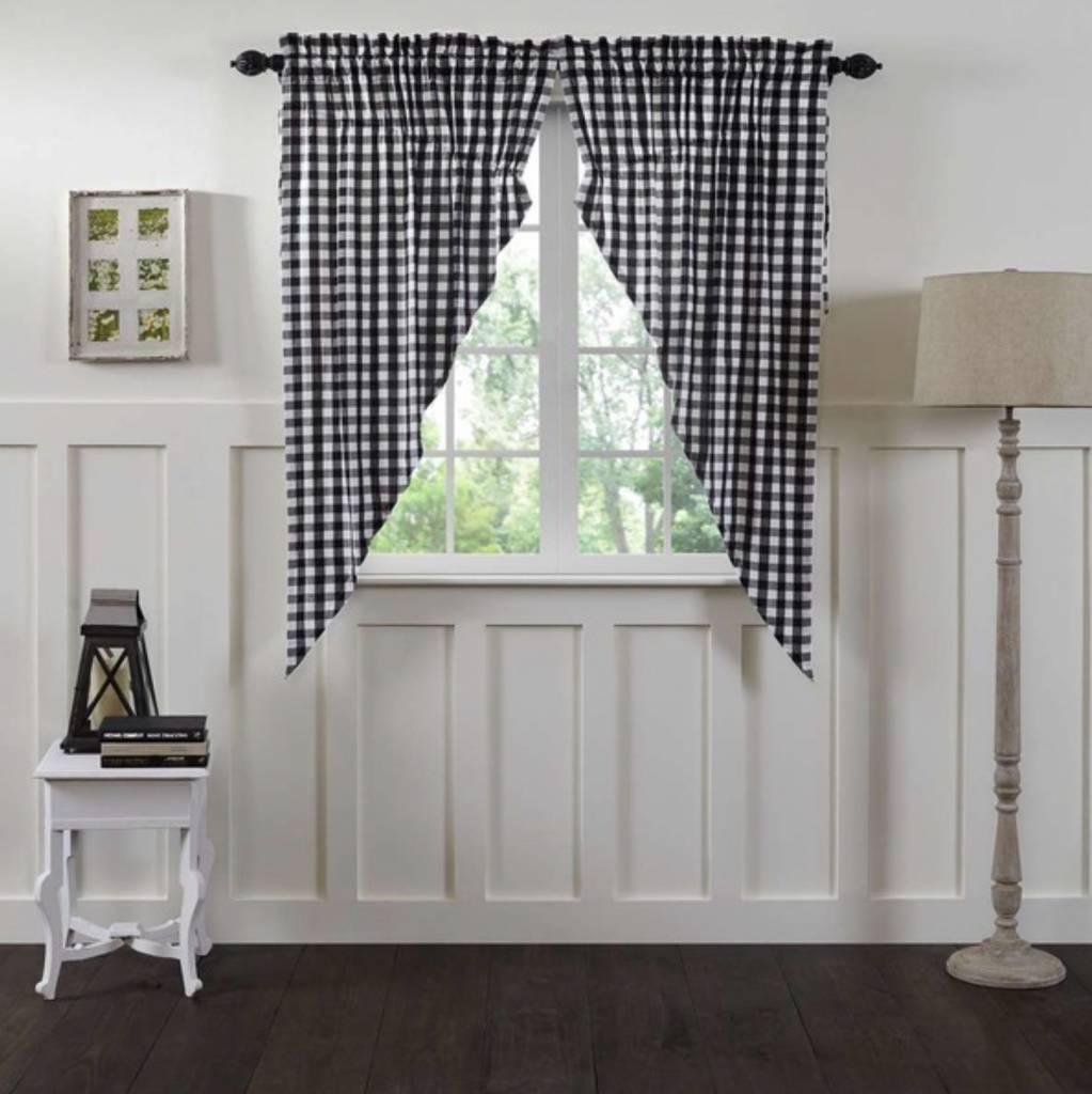 VHC Brands Annie Buffalo Black Check Lined Prairie Curtain