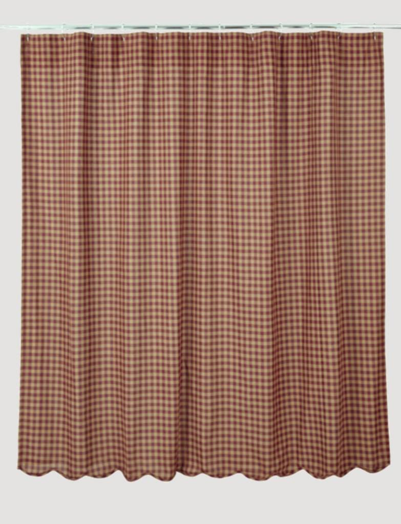 VHC Brands Burgundy Check Scalloped Shower Curtain
