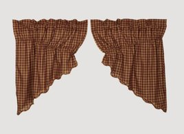 VHC Brands Burgundy Check Scalloped Prairie Swag