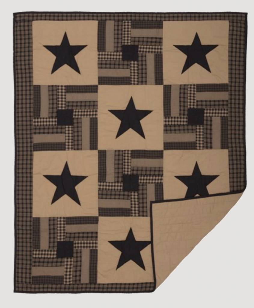 VHC Brands Black Check Star Quilted Throw 60x50