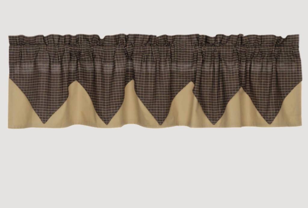 """VHC Brands Kettle Grove Plaid Layered Valance 16"""" x 72"""""""