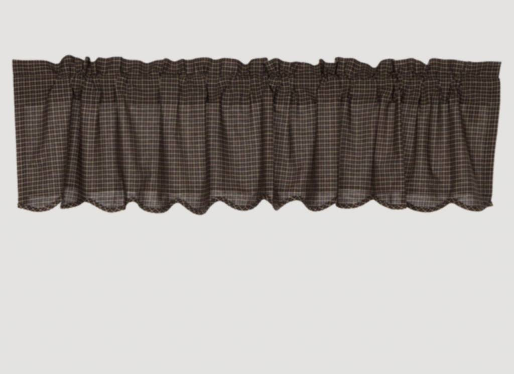 """VHC Brands Kettle Grove Plaid Scalloped Valance 16"""" x 72"""""""