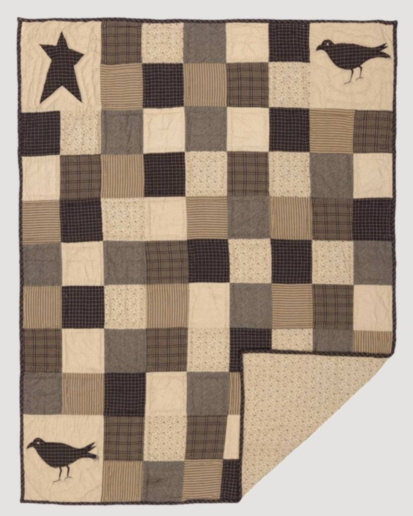 VHC Brands Kettle Grove Applique Crow and Star Quilted Throw 60x50