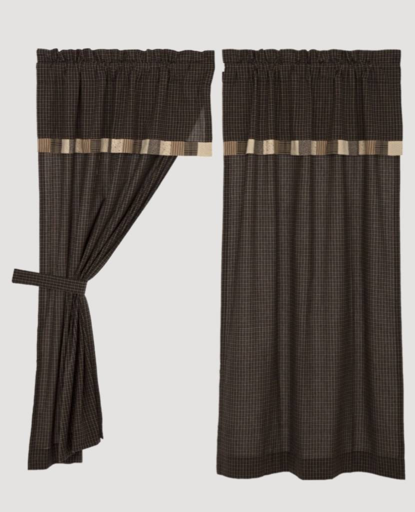 VHC Brands Kettle Grove Lined Window Panel  Set of 2 with Attached Valance