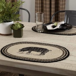 VHC Brands Sawyer Mill Pig Jute Oval Placemat
