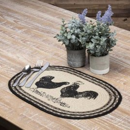VHC Brands Sawyer Mill Poultry Jute Oval Placemat