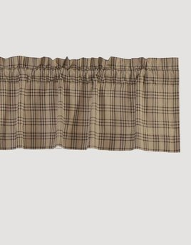 """VHC Brands Sawyer Mill Charcoal Plaid Lined Valance 16"""" x 72"""" (In Store)"""