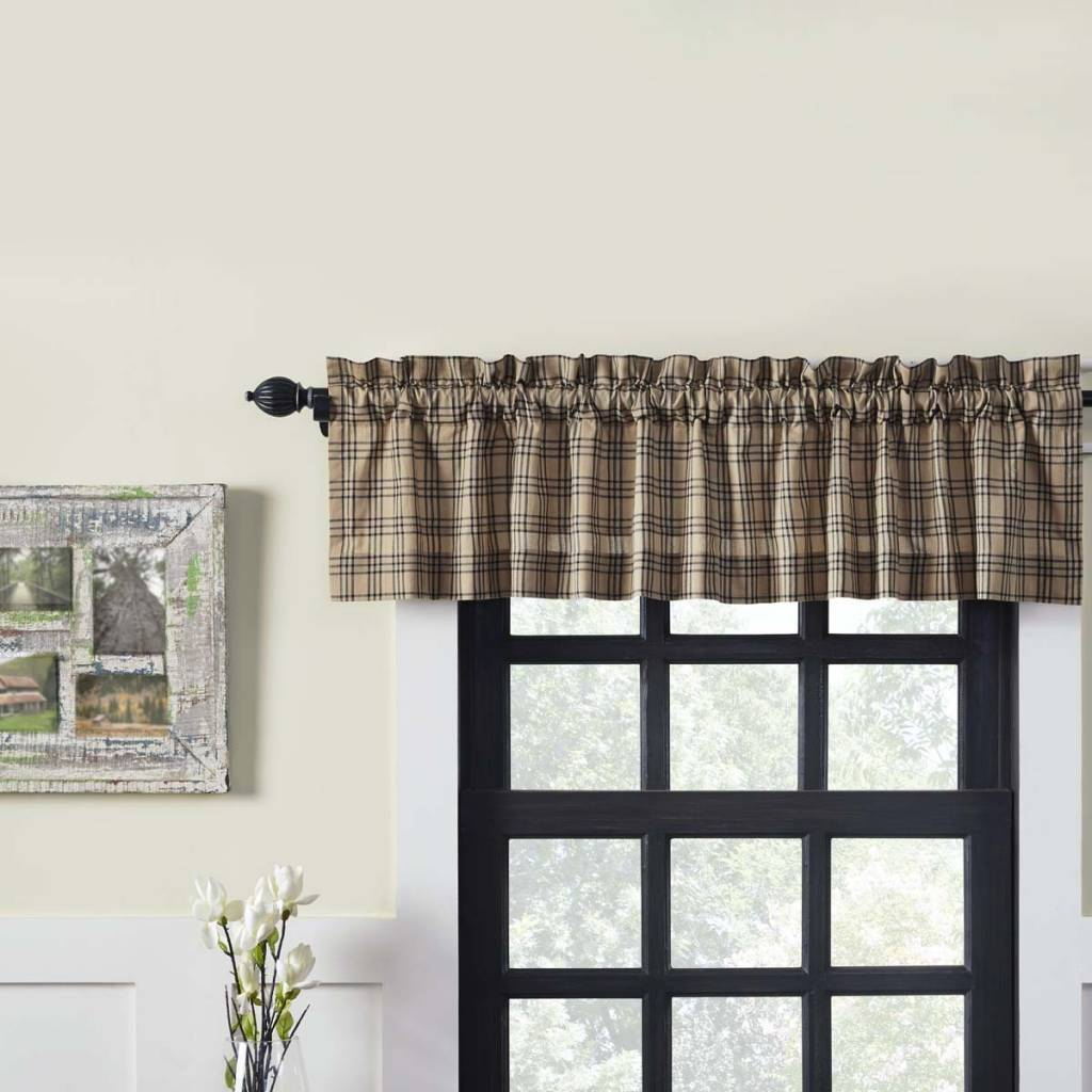 """VHC Brands Sawyer Mill Charcoal Plaid Lined Valance 16"""" x 72"""""""