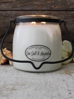 Milkhouse Candles Sea Salt & Magnolia 16oz Butter Jar