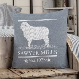 VHC Brands Sawyer Mill Blue Lamb Pillow