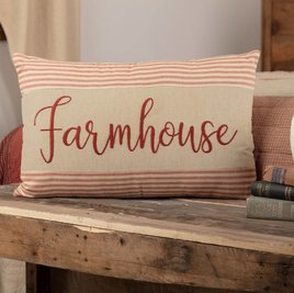 "VHC Brands Rory Schoolhouse Red Farmhouse Pillow 14""x 22"" (In Store)"