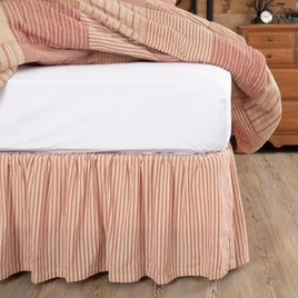 VHC Brands Sawyer Mill Red Ticking Stripe Bed Skirt
