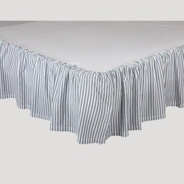 VHC Brands Sawyer Mill Blue Ticking Stripe Bed Skirt