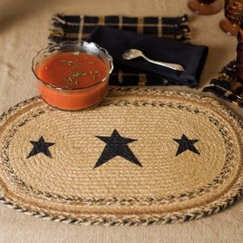 VHC Brands Kettle Grove Jute Tablemat Stencil Stars