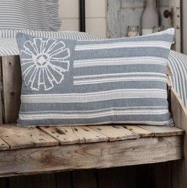 VHC Brands Sawyer Mill Blue Flag Pillow