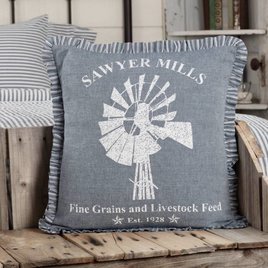VHC Brands Sawyer Mill Blue Windmill Pillow